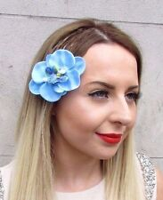 Double Light Blue Orchid Flower Hair Clip Rockabilly 1950s Fascinator 1940s 2830