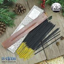 5 x boîtes de 60 encens bâtons d'encens en bois et détenteurs de noix de coco vanille (300 bâtons)