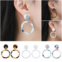 Fashion Women Acrylic Hollow Round Circle Geometric Dangle Drop Earrings Jewelry