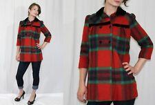 Vintage 80s Red PLAID Black VELVET Tiny Baby Doll Fit Retro Wool Coat Kinder XS