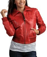 100% Red Leather Bomber Jacket Size UK 14 Ladies Womens Coat BNWT #C-12
