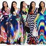 5XL Bohemian Women Wave Tie Dyed Print Chiffon Long Sleeve Swing Long Maxi Dress