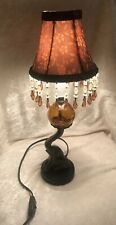 Art Deco Metal Trumpeting Elephant Holding Cracked Amber Glass Globe Shaded Lamp