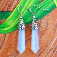 Hexagonal Gemstone Healing Chakra Reiki Opal Opalite Stone Earrings