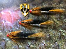 3 V Fly 1.5 Inch Brass Hot Orange Tailfire Cascade Salmon Tube Flies & Trebles