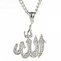 HIJONES Mens Stainless Steel Golden/Silver Clear CZ Micro Pave Islamic Silver