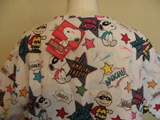NEW Peanuts Snoopy Charlie Brown Scrub Top XL White Daring Mighty Super Heroes