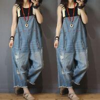 Plus Size Women's Denim Rompers Overalls Pants Loose Jumpsuits Wide Leg Jeans