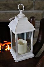 Large White Shabby Chic French Vintage Washed Metal Lantern + LED Candle 30.5cm
