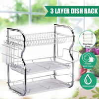 2/3-Tier Rack Shelves Dish Cup Drainer Kitchen Cupboard Storage Cutlery Holder