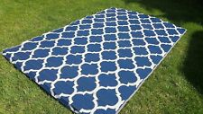 Moroccan OUTDOOR Quatrefoil RECYCLED Geometric BLUE WHITE Area Rug 6 x 10 NEW