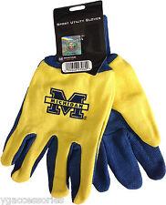 NWT NCAA Michigan Wolverines Non-Slip Gripper Sport Utility Work Gloves NEW