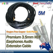 5M Gold Plated 3.5mm M/F Earphones Audio Extension Cable Lead Cord