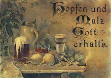 Hopfen & Malz Gott erhalts Faksimile nach Lithographie um 1880 Kxz 21 Wein Bier