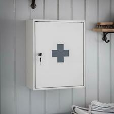 Large Lockable Steel Wall Mounted First Aid Medical Storage Box Cabinet 2 Keys