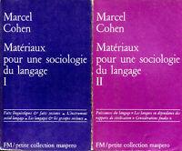 Marcel Cohen - Matériaux pour une sociologie du langage - Tomes 1 et 2