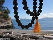 HUGE, UNIQUE & RARE 12MM 108 BEAD BLACK EBONY WOOD TIBETAN BUDDHISM MALA INDIA