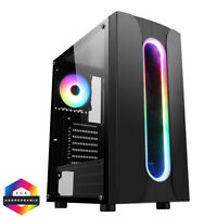 CIT Sauron Midi ATX Tower Gaming PC Case 120mm RGB Ring LED Fan Tempered Glass