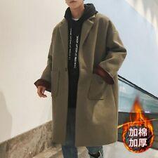 Korean Men Trench Coat Woolen Jacket Loose Fit Lapel Collar One Button Outwear