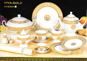 Dolce Vita  Gold Greek Key Design 57 Pcs Dinner Set ,  For 6 Persons