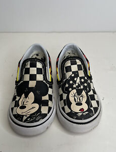 Vans X Disney Mickey & Minnie Mouse Toddler Size 6 Classic Slip-On Shoes Black