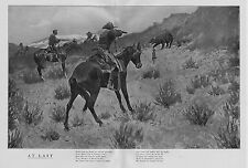 FREDERIC REMINGTON COWBOYS HUNTING BEAR WITH DOGS AND HORSES MAKING KILL AT LAST