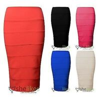 New Womens Ladies Bodycon Rib Bandage Stretch Knee Length Party Skirt 8 10 12 14
