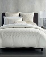 Hotel Collection Gilded Geo Embroidered KING Duvet Cover OFF WHITE Bedding i1362