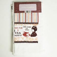 6 x Vintage Tea Party Design Tea Towels - 100% Cotton - Great Britain Victorian