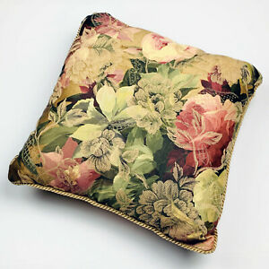 Chrysanthemum Peony Roses Floral Sateen Tapestry Square Pillow