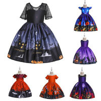 Kids Girls Witch Costume Party Princess Formal Fancy Dress Up Outfit Halloween