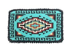 Native American Navajo Multicolor Beaded Belt Buckle