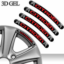 4 DOMED 3D RIM WHEEL STICKERS STRIPE CITROEN EMBLEM SET CAR AUTO TUNING C28