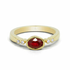 Solitaire with Accents Ruby Yellow Gold Fine Rings