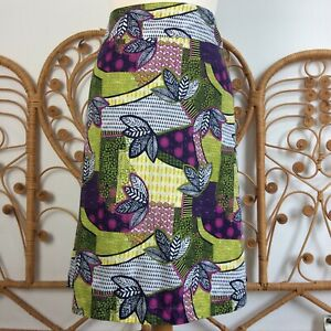 White Stuff Reversible Floral Botanical & Zebra Pattern Cotton Skirt Size 16