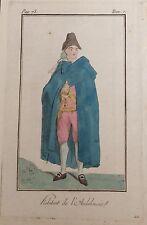 ANDALUCÍA. HABITANT D'ANDALUSIE. Grabado original en color, 1788.