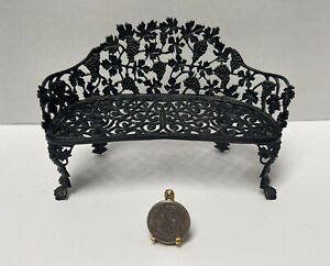 VTG Artisan S RUSSO Black Wrought Iron Grapevine Bench Dollhouse Miniature 1:12