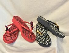 JUICY COUTURE FLIP FLOPS: 2 Pairs Sandals Shoes, RED BLUE , 9
