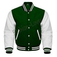 Varsity Bomber Letterman Baseball F-Green Wool & White Leather Sleeves jacket