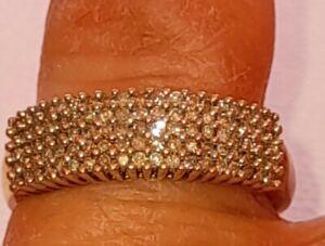 Uk Hallmarked 9ct Yellow & White Gold 1.00 Ct Diamond Cluster Band Ring, Q.