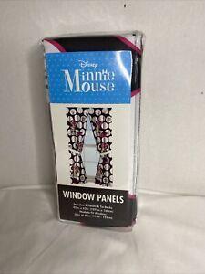 Disney Minnie Mouse Dots Black  4 Piece Curtain Panel & Tie. NEW