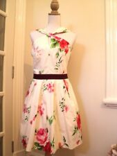 cue floral roses  tea dress  worn once prettiest ever fit and flare