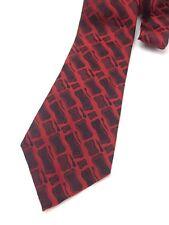 Vintage Necktie Wide Neck Tie Kipper Jacquard Woven Shiny Metallic Red Punk
