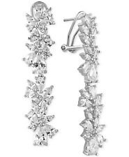 Tiara Cubic Zirconia Cluster Linear Drop Earrings in Sterling Silver
