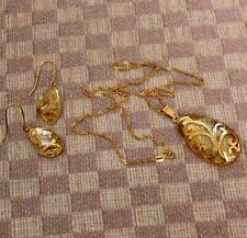 NEW LARGE YELLOW GOLD GEMSTONE DROP NECKLACE/EARRING SET