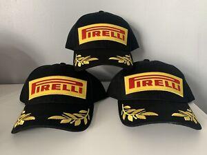New Pirelli Embroidered Black Baseball Cap Adjustable - 100% Cotton