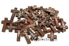 FREE Wholesale Lots Fashion 100pcs JESUS Cross Wood Beads Pendants Fit Necklace