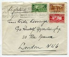Syria 1937  attractive franking on airmail cover,Hotel OMAYAD to London
