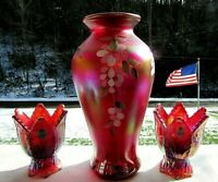 "Fenton Ruby Red Carnival 2003 HP Floral Collection Vase 9.5""H 2 Way Votive-2"