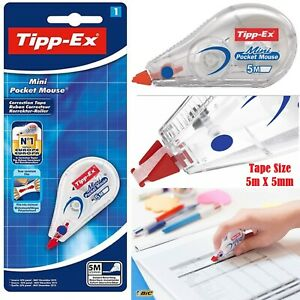 Bic Tipp-Ex Mini Pocket Mouse Correction Tape, 5m Can Instantly Rewrite Correct